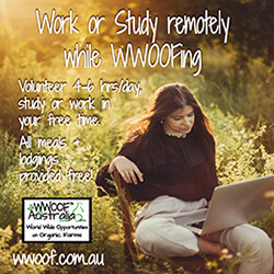 Work or study remotely while volunteering with WWOOF - World wide Opportunities on Organic Farms