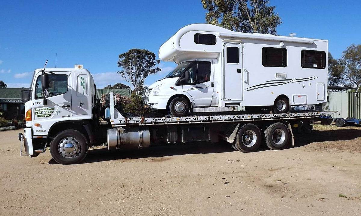 Hire a tilt tray truck to transport a mobile home with East Gippsland Tilt Tray Service from Lakes Entrance