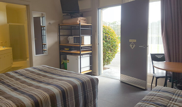 View of room 7 of the Meeniyan Motel from inside to front door - accommodation near Wilsons Promontory and the Great Southern Rail Trail with bike hire