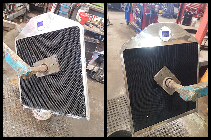 Custom made tank and radiator rebuild for a 1929 Lancia Landa vintage car showing before (left) and after (right)